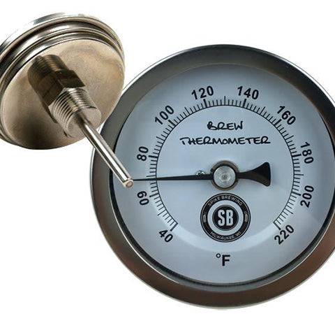 "This 1/2"" NPT Brew Thermometer is ready to screw directly into the kettle. This 2.5"" stemmed thermometer can cover 40-220 degree ranges. The 3"" glass dial will display all the information you need at a glance and while withstanding the high heat from the burner below. The thermometer also has calibration screw for added accuracy."