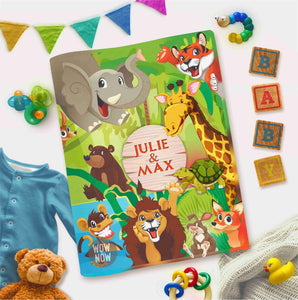 Personalized Interactive Activity Book For Toddlers - Jungle Theme Cover