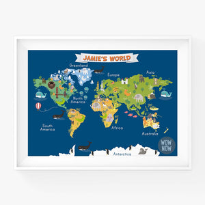 Personalized Nursery Animals World Map - (Unframed)