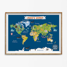 Load image into Gallery viewer, Personalized Nursery Animals World Map - (Unframed)