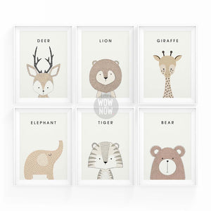 Set of 6 Woodland Animals Prints - (Unframed)