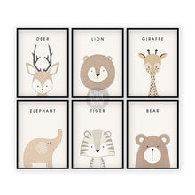 Load image into Gallery viewer, Set of 6 Woodland Animals Prints - (Unframed)