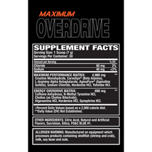 Load image into Gallery viewer, Muscle Gears_Overdrive_Supplement_facts