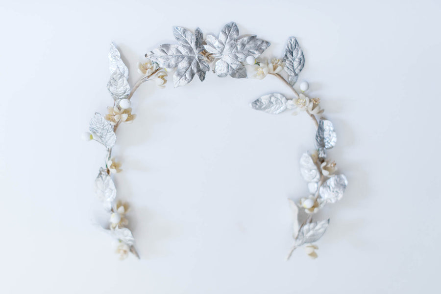 [SOLD] Antique Foil & Wax Flower Tiara