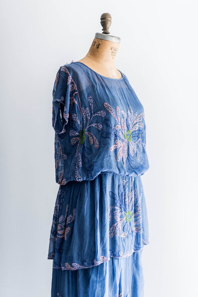 [SOLD] Cobalt Blue Silk Beaded Flapper Dress