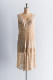 1920s Needlepoint Lace and Silk Chiffon Dress - M/L