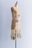 Rare 1920s Embroidered Net with Beaded Applique Dress - S/M