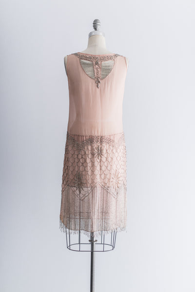 1920s Pink Chiffon Beaded Flapper Dress - M