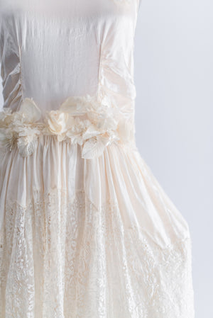 1920s Cream Silk And Lace Panier Flapper Dress - S