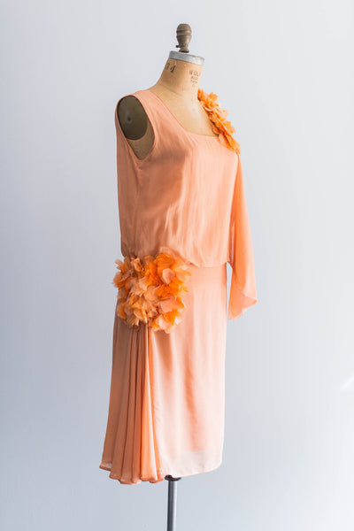 [SOLD] Tangerine Silk Flapper Dress