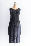 [SOLD] Black Silk Satin Flapper Dress