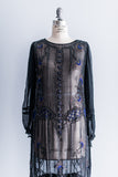 [SOLD] Long-Sleeved Silk Chiffon Beaded Flapper Dress