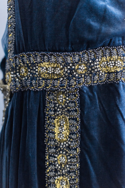 1920s Silk Velvet Midnight Blue Reception Dress - M