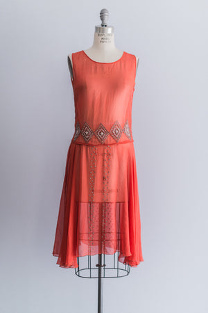 1920s Coral Red Flapper Dress - S