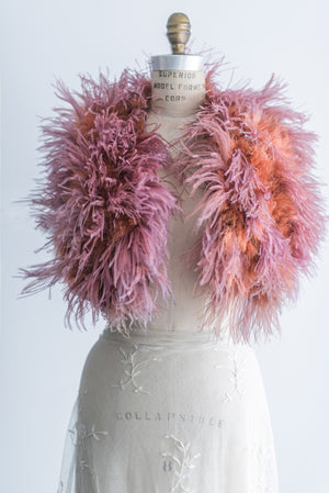 Crimson Ostrich Feather Shawl