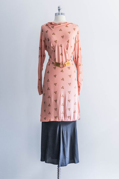 Peach Gold Bullion Bias Cut Dress Ensemble