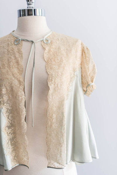 [SOLD] Silk Lace Powder Blue Cap-Sleeve Bed Jacket