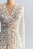 1940s Trained Crochet Bobbin Lace Gown - S