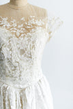 1950's Lace Illusion Net Organdy Lace Gown - M