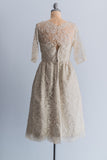 1950s Harvey Berin Silk Chantilly Tea-Length Lace Dress - S