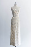 [SOLD] Cream Satin Silver-Thread Embroidered Wiggle Dress