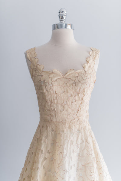 1950s Silk Organza Cutout Dress - XS