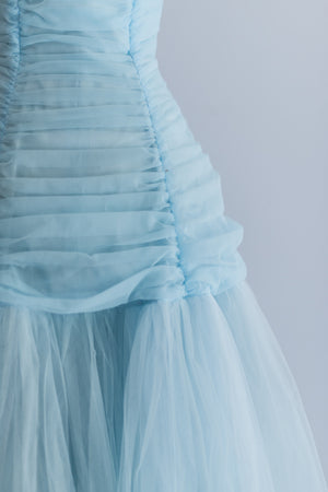 RESERVED 1950s Sky Blue Emma Domb Party Dress - XS
