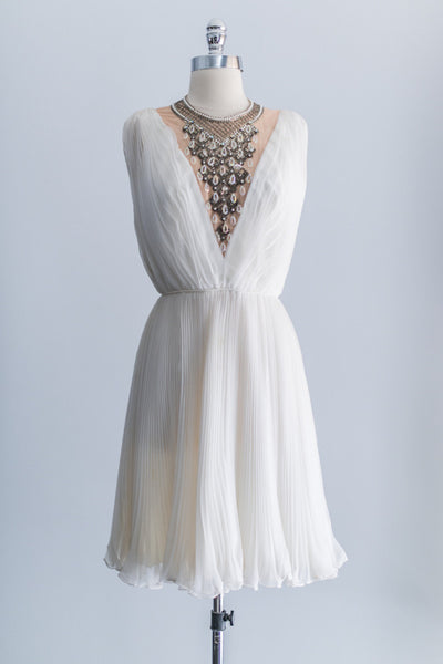 1960s Beaded Chiffon Pleated Dress - S/M