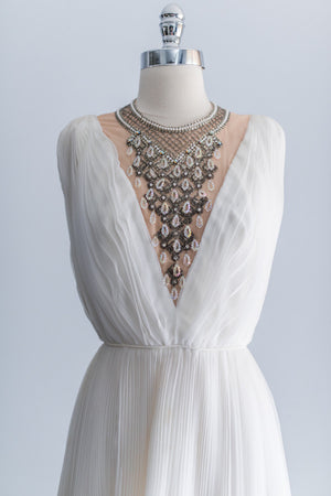 [SOLD] 1960s Beaded Chiffon Pleated Dress - XS
