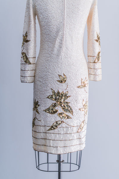 1960s Beaded Wool Mod Dress - S