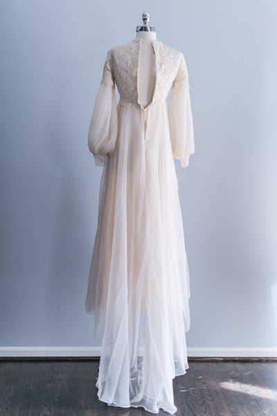 Modest Lace Embroidered Chiffon Gown