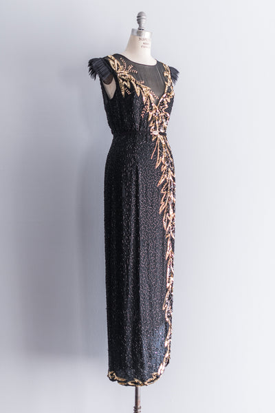 [SOLD] Pleated Shoulder Gold Leaf Beaded Column Dress