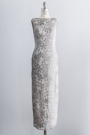 1980s Dove Gray Silk Beaded Dress - M