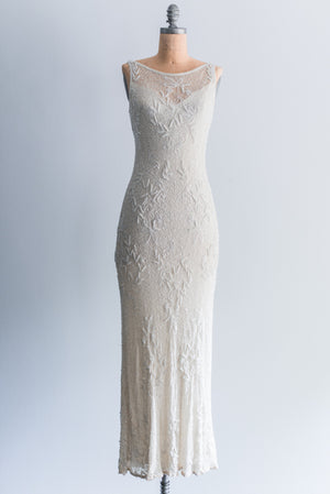 1980s Silk Beaded Dress - M