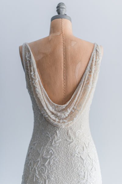 1980s Ivory Silk Beaded Dress - S/M