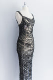 1980s Black Beaded Mermaid Dress