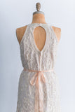 1980s Pearl Halter Beaded Lace Dress - L
