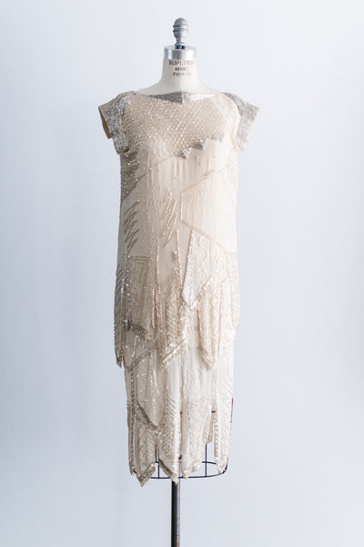 [SOLD] 1980's Silk Chiffon Flapper Dress - M