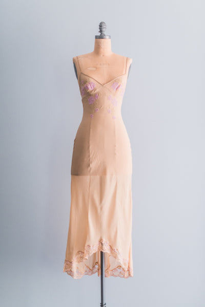 Vintage Sheer Ecru Silk Slip Dress - XS/S
