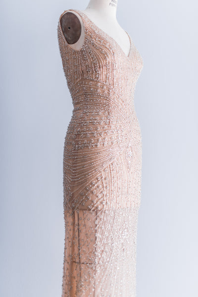 [SOLD] Couture Stephen Yearick Peach Blush Beaded Gown