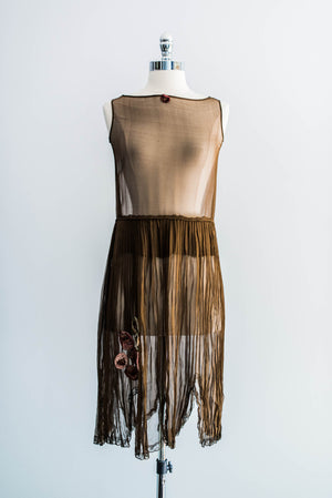 Silk Chiffon Flapper Dress with Slip