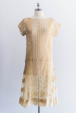[SOLD] Tea Lace Embroidered Flapper Dress
