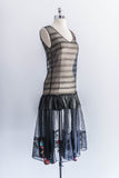 1920s Black Embroidered Tulle Flapper Dress