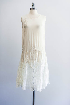 [SOLD] Silk and Lace Beaded Flapper Dress