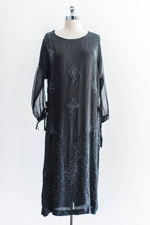 [SOLD] Long Sleeve Silk Beaded Flapper Dress