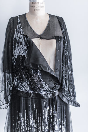 [SOLD] Late 1910's Silk Tulle Beaded Dress