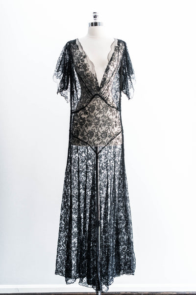 [SOLD] Black Silk Chantilly Gown