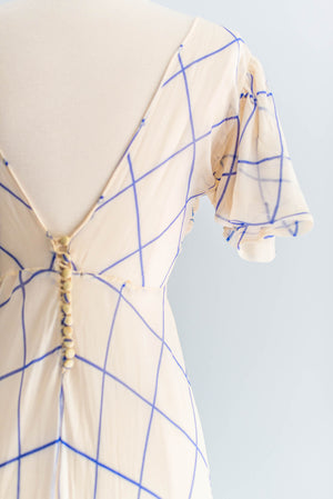 [SOLD] Cream and Blue Silk Bias-Cut Dress