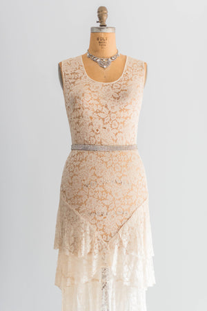 [SOLD] Silk Lace Bias Cut Flapper Dress
