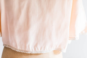 [SOLD] Silk Satin Peach & Alencon Lace Bed Jacket